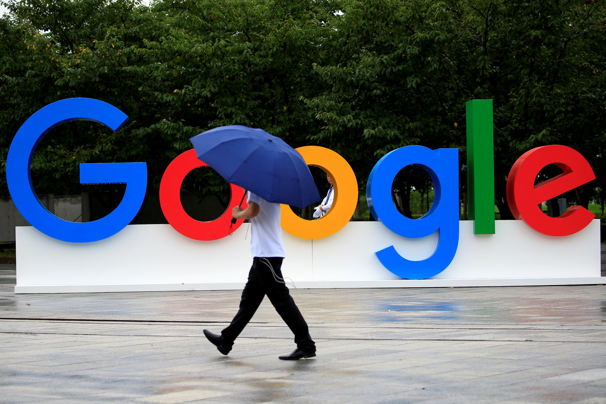 A Google sign is seen during the WAIC (World Artificial Intelligence Conference) in Shanghai in September.