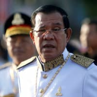 Cambodian leader Hun Sen says he won't allow any foreign military bases in his country