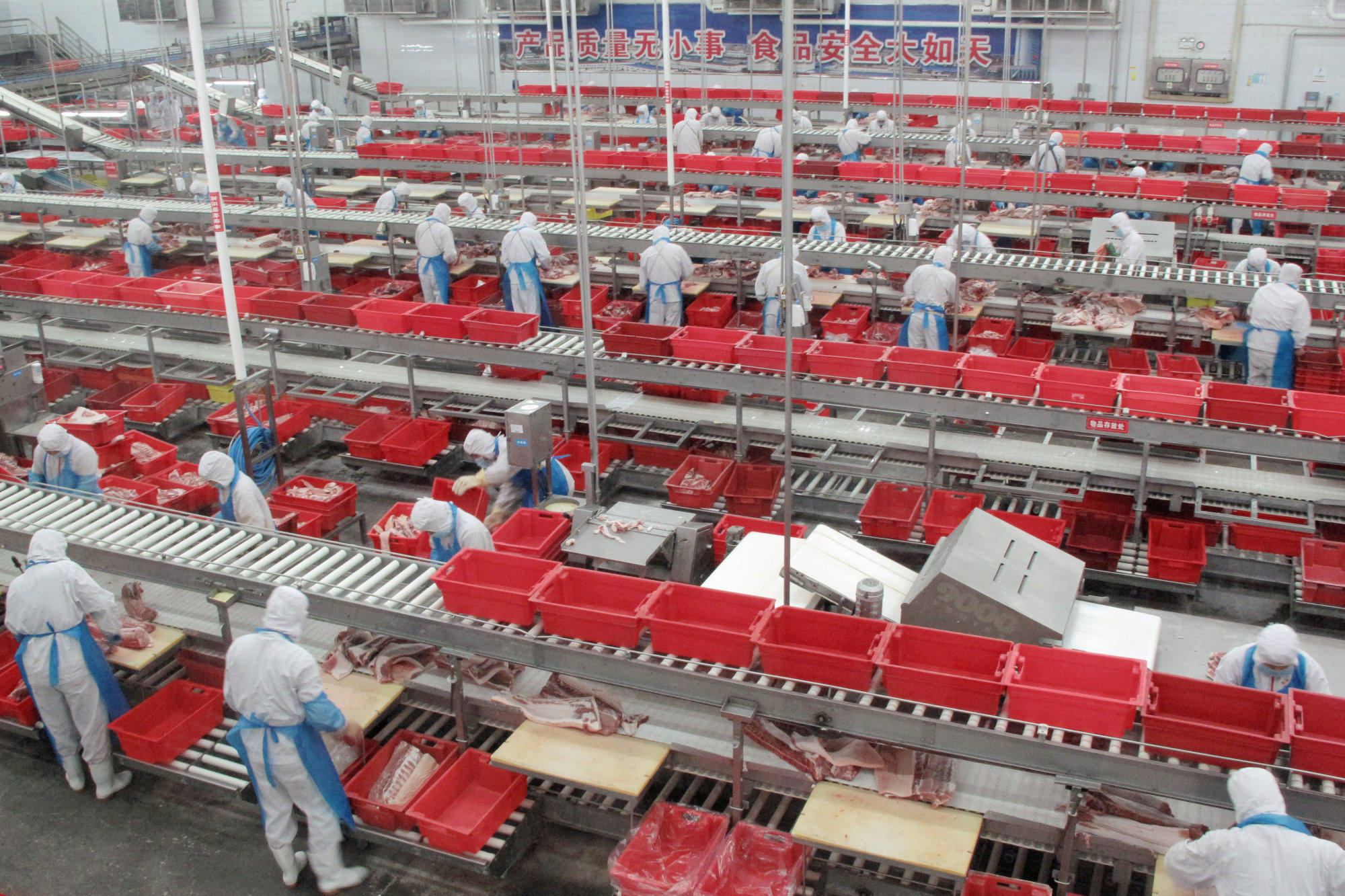 Workers sort cuts of fresh meat in a processing plant owned by pork producer WH Group in Zhengzhou, Henan province, China, in November 2017. | REUTERS