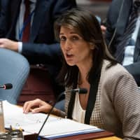 U.S. Ambassador to the U.N. Nikki Haley addresses the UNSC during a United Nations Security Council meeting on Ukraine Monday at the United Nations in New York. The United States on Monday warned Russia that 'outlaw actions' like the seizure of Ukrainian ships in the Sea of Azov are preventing normal relations from developing between Washington and Moscow. | AFP-JIJI