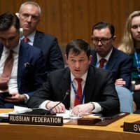 Russian Deputy Ambassador to the United Nations Dmitry Polyanskiy addresses the United Nations Security Council meeting on Ukraine Monday at the United Nations in New York. | AFP-JIJI