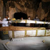 Egypt unveils previously unopened sarcophagus containing female mummy