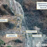 A satellite image taken March 29 shows what the Washington-based Center for Strategic and International Studies reports is an undeclared missile operating base at Sakkanmol, North Korea.   REUTERS