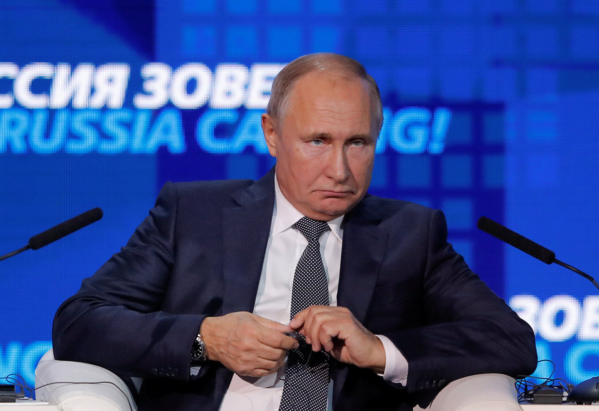 Russian President Vladimir Putin attends the 'Russia Calling!' meeting of the VTB Capital Investment Forum in Moscow on Wednesday.   REUTERS