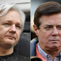 This photo combination created on Tuesday shows Wikileaks founder Julian Assange (left) at the Embassy of Ecuador in London and former Donald Trump presidential campaign manager Paul Manafort at Yankee Stadium in 2017 in New York. Donald Trump's former campaign chairman Paul Manafort held secret talks with WikiLeaks founder Julian Assange, including around the time the lobbyist joined Trump's bid to win the presidency, The Guardian reported on Tuesday.   AFP-JIJI
