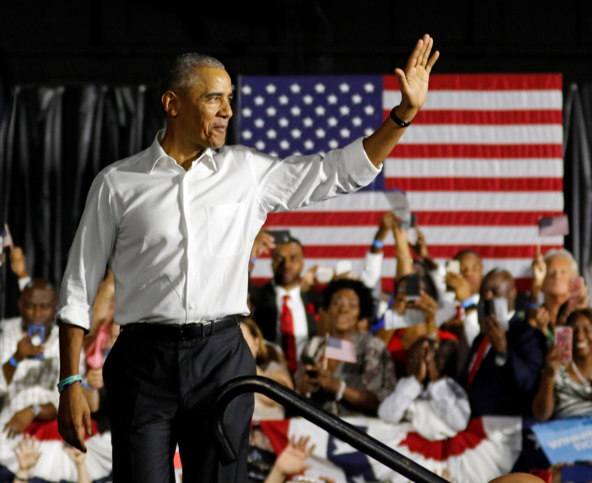 Former U.S. President Barack Obama walks on stage as he campaigns for Democrats, including Florida Sen. Bill Nelson and gubernatorial candidate Andrew Gillum in Miami on Friday.   REUTERS