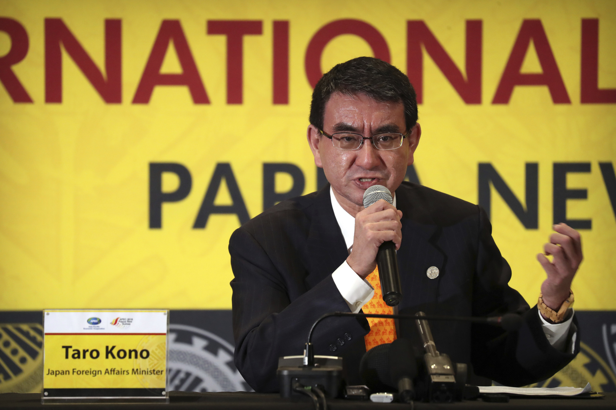 Japan's Foreign Minister Taro Kono speaks during a news conference held on the sidelines of the APEC Summit at the International Media Center in Port Moresby, Papua New Guinea, on Thursday. | AP