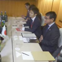 Taro Kono discusses territorial dispute with Russia's Sergey Lavrov at meeting in Rome