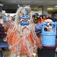 An Oga no Namahage performance takes place at the municipal office of Oga in Akita Prefecture on Wednesday. A set of traditional rituals in Japan, including Oga no Namahage, was approved for inclusion on UNESCO's Intangible Cultural Heritage on Thursday. | KYODO