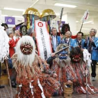 Oga no Namahage performers celebrate Thursday at the municipal office of Oga in Akita Prefecture, as a set of traditional rituals in Japan including Oga no Namahage has been approved for inclusion on UNESCO's Intangible Cultural Heritage list. | KYODO