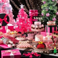 Christmas lunch buffet awash in pink decadence