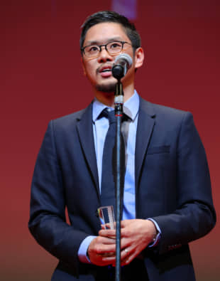 Diamond in the rough: Seiji Tanaka accepts the Japanese Cinema Splash section award for best director for his film