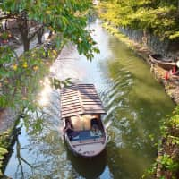 Boating to the biennale: A small boat sits in one of Omihachiman's many canals. | KATHERINE WHATLEY