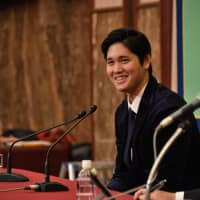 Los Angeles Angels star Shohei Ohtani speaks at a news conference at the Japan National Press Club in Tokyo on Thursday. | YOSHIAKI MIURA