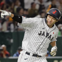 Yuki Yanagita hit a pair of home runs for Samurai Japan during the first two games of the Japan All-Star Series at Tokyo Dome. | KYODO