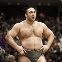 Georgian ozeki Tochinoshin is entering the Kyushu Grand Sumo Tournament in search of his first title since winning the New Year Basho in January. | KYODO