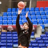 Forward Kosuke Takeuchi works on his shot during Japan's practice on Thursday in Toyama. The Akatsuki Five face Qatar in a World Cup Asian qualifier on Friday night. | KAZ NAGATSUKA