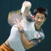 Kei Nishikori practices before the Paris Masters on Oct. 30 in Paris. | KYODO
