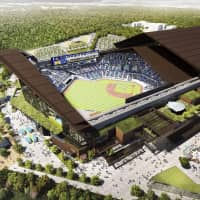 A computer-generated image of the Hokkaido Nippon Ham Fighters' new ballpark, which is set to open in 2023. KYODO | KYODO