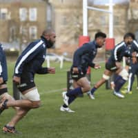 The 2018 results for the Brave Blossoms, seen here training during their recent trip to England, show that Japan is not guaranteed to advance out of the first round at the 2019 Rugby World Cup. | KYODO