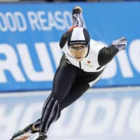 Nao Kodaira zooms to victory in the women's 500-meter World Cup race in Obihiro, Hokkaido, on Friday. | KYODO