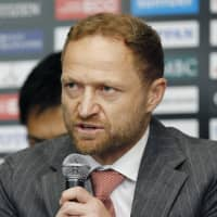 Sunwolves head coach Tony Brown addresses the media on Tuesday, naming an initial 29-man squad for the 2019 Super Rugby season. | KYODO
