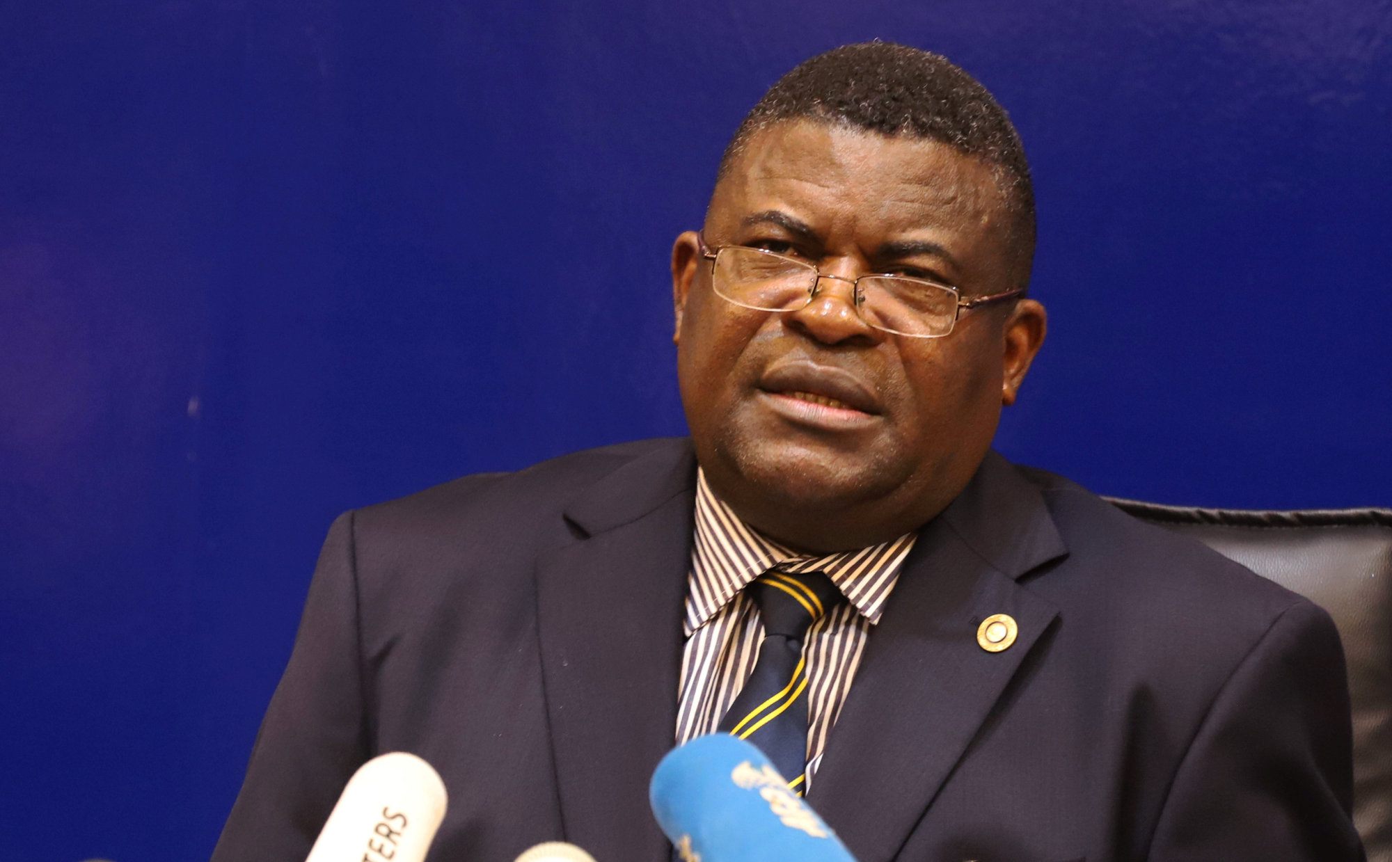 Congo's National Independent Electoral Commission (CENI) spokesman, Jean-Pierre Kalamba, addresses a news conference in Kinshasa Wednesday. | REUTERS