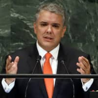Colombia's President Ivan Duque addresses the United Nations General Assembly on Sept. 26. | AP