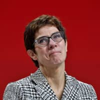 Annegret Kramp-Karrenbauer reacts after being elected leader of the CDU party in Hamburg, Germany, on Friday.   AFP-JIJI