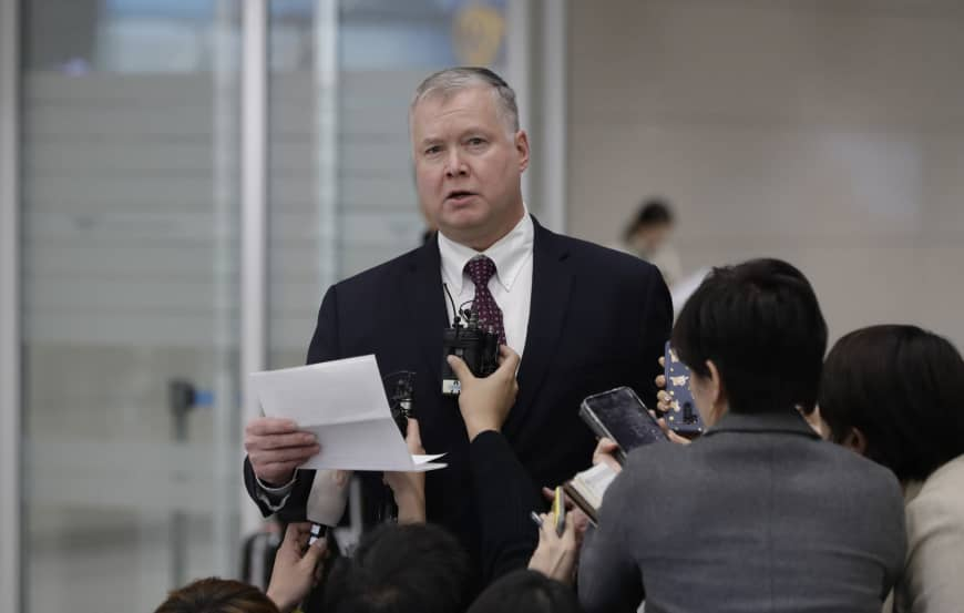U.S. Special Representative for North Korea Stephen Biegun speaks to the media upon his arrival at Incheon International Airport in Incheon, South Korea, on Wednesday. | AP
