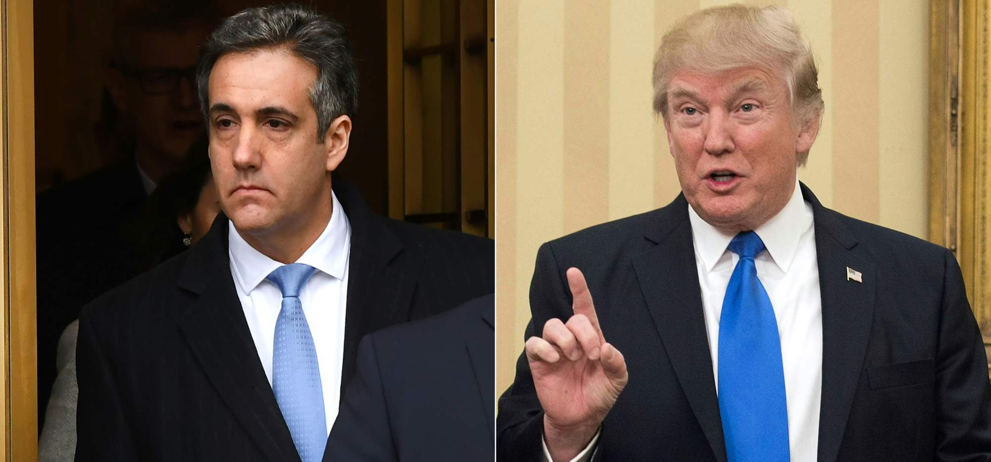 This combination of photos created Thursday shows U.S. President Donald Trump's former attorney, Michael Cohen (left), leaving U.S. Federal Court in New York on Wednesday, and Trump speaking in the Oval Office at the White House in Washington last year. Trump tried to shield himself from rising legal heat Thursday with tweets insisting he never ordered Cohen to break the law. | AFP-JIJI
