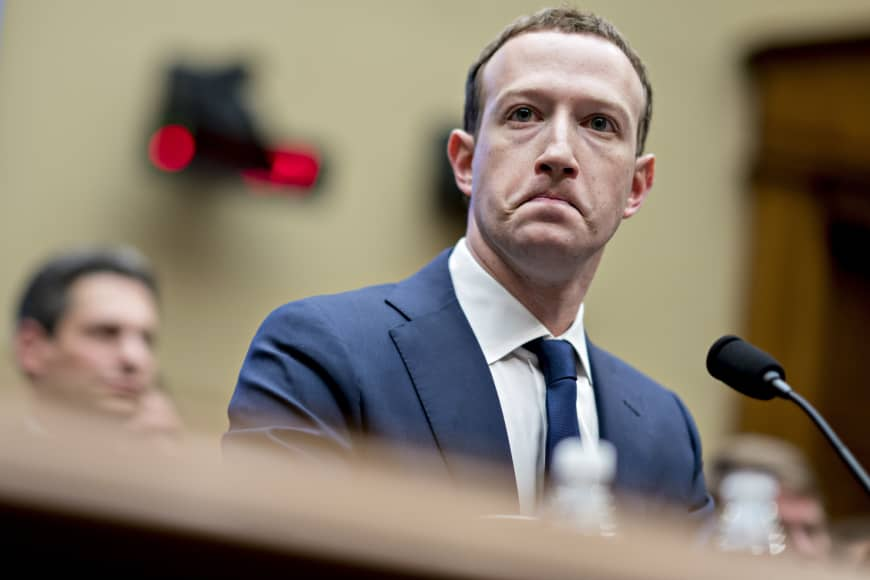 Facebook founder and CEO Mark Zuckerberg listens during a House Energy and Commerce Committee hearing in Washington in April.