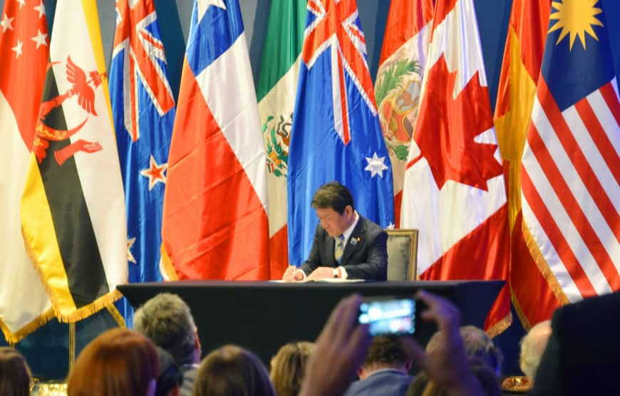 Toshimitsu Motegi, the minister in charge of the Trans-Pacific Partnership, signs the Comprehensive and Progressive Agreement for Trans-Pacific Partnership (CPTPP), also known as TPP-11, in Santiago in March.