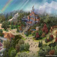 An artist's rendering shows how the new 'Beauty and the Beast' attraction will look like when it opens in the spring of 2020 at Tokyo Disneyland in Chiba Prefecture. | ORIENTAL LAND CO. / VIA KYODO