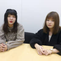 Aya Kotobano (left) and Natsumi Ogi, former members of the chika idol group Nijiiro Fanfare, are interviewed in Tokyo on Oct. 23. | KYODO