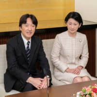 Prince Akishino and his wife, Princess Kiko, attend a news conference ahead of his 53rd birthday at the their residence in Tokyo on Nov. 22.   REUTERS