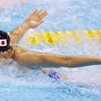 Swimmer Rikako Ikee competes during the Asian Games in Jakarta in August. | KYODO
