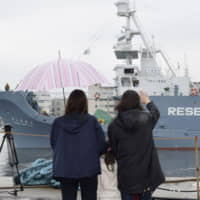 Ships leave the port of Shimonoseki in Yamaguchi Prefecture in November for what the government calls 'research whaling' in the Antarctic Ocean. | KYODO
