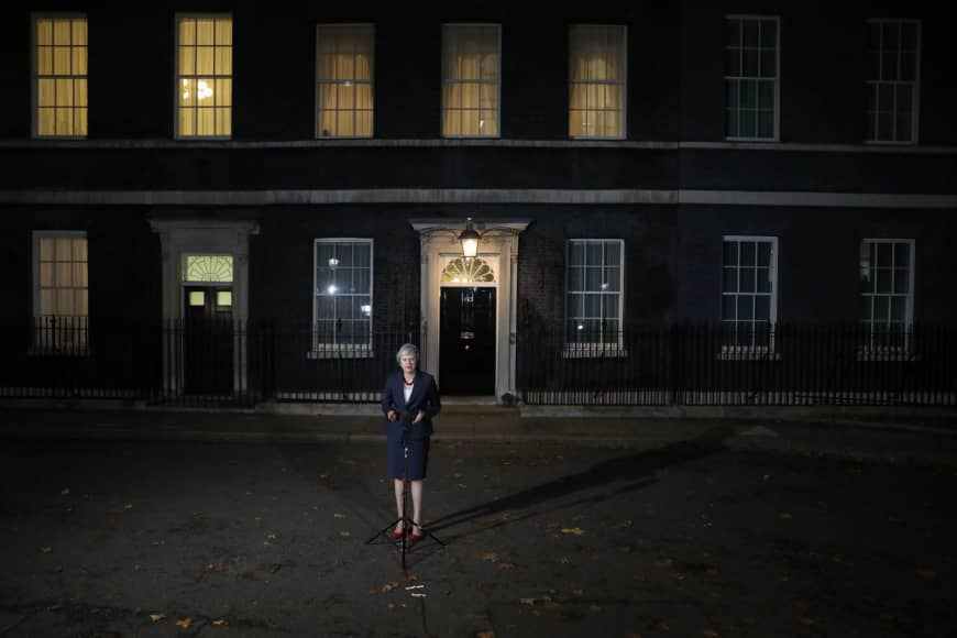 British Prime Minister Theresa May stands outside No. 10 Downing Street following a special session of Brexit discussions in November.