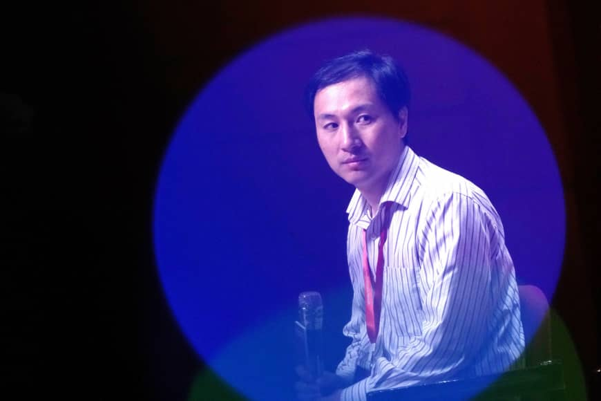 He Jiankui of the Southern University of Science and Technology in China attends a panel discussion on genome editing in Hong Kong in November. His peers were unhappy with his claim he had created the world