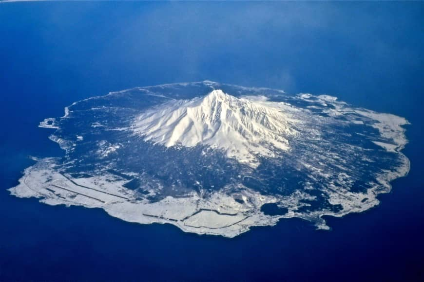 Rishiri Island, with Mount Rishiri at its center.