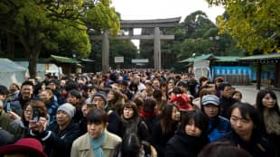Crowd control: People gather at Meiji Shrine for hatsumōde (first prayers).