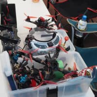 Drones await maintenance at the Japan Drone League event in Chiba Prefecture in October.   MARK THOMPSON