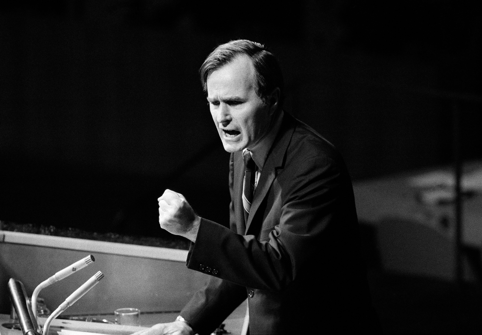 U.S. Ambassador George H.W. Bush gestures as he addresses the United Nations General Assembly during the China debate on Oct. 18, 1971. Bush died on Friday at the age of 94. | AP