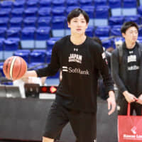 Japan guard Daiki Tanaka dribbles during the team's practice on Thursday in Toyama. | KAZ NAGATSUKA