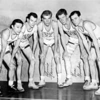 The starters for the University of Utah's 1947 NIT title-winning team (from left): Wat Misaka, Fred Weidner, Arnie Ferrin, Vern Gardner and Leon Watson. | THE UNIVERSITY OF UTAH