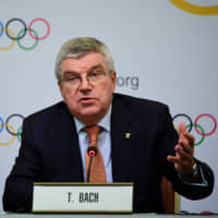 International Olympic Committee President Thomas Bach speaks at a news conference in Tokyo on Saturday. | AFP-JIJI