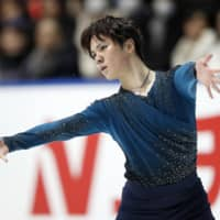 Shoma Uno performs his free skate on Monday at the national championships in Kadoma, Osaka Prefecture. Uno won the competition with a total of 289.10 points. | KYODO