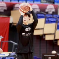 Yudai Baba shoots during practice on Thursday in Toyama. | KAZ NAGATSUKA