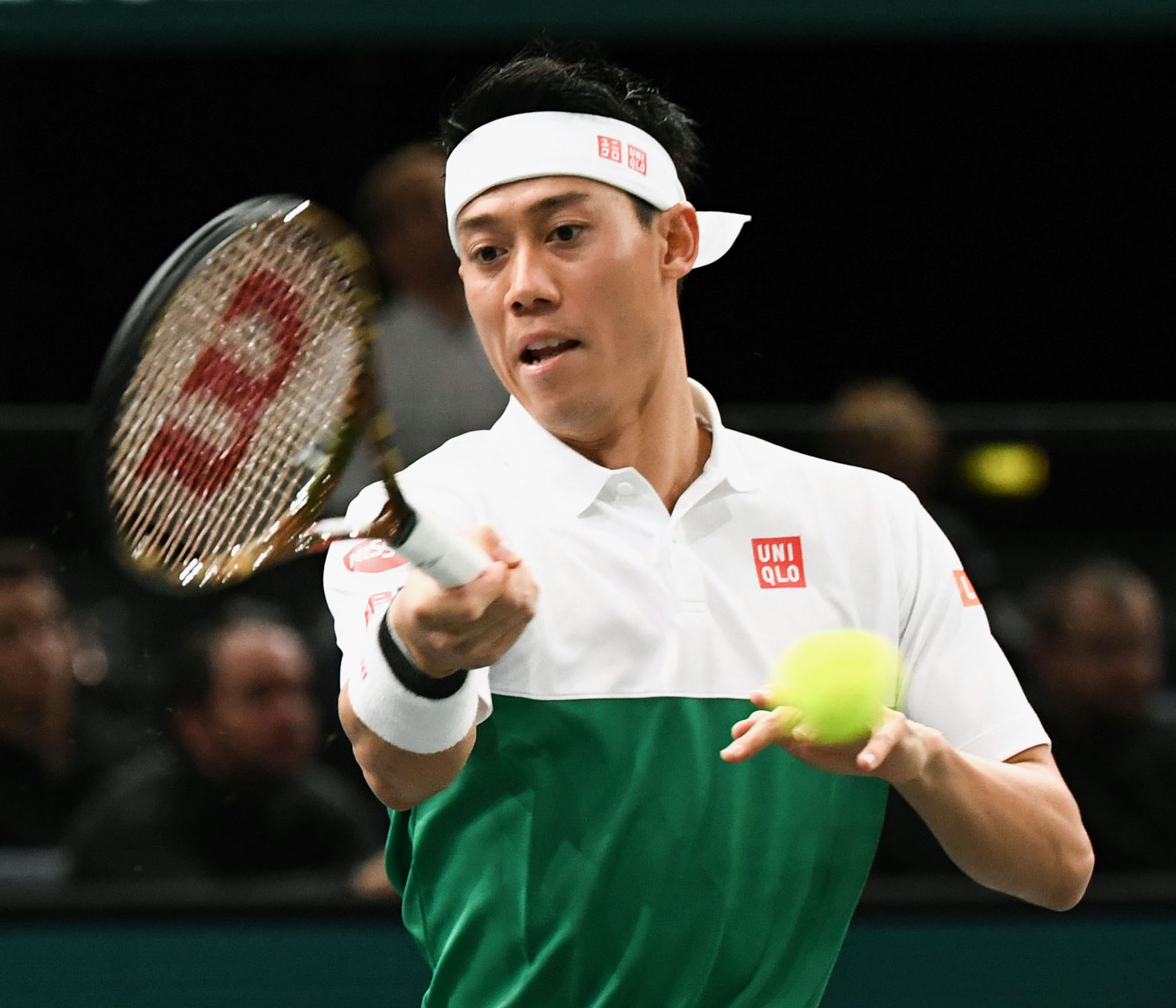 Kei Nishikori competes against Kevin Anderson during the Paris Masters on Nov. 1. Nishikori stormed back into the top 10 of the ATP rankings after suffering a wrist injury in 2017. | KYODO